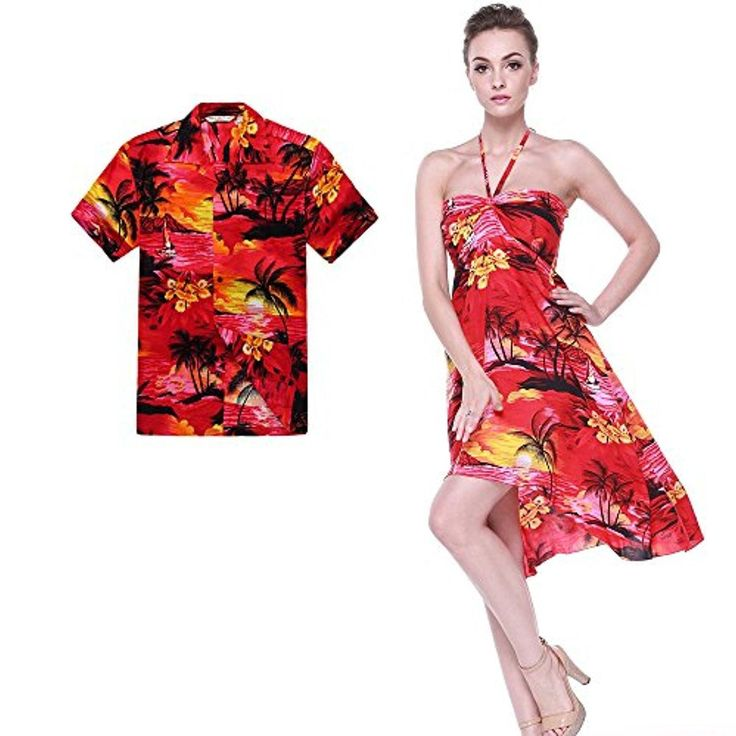 Couple Matching Hawaiian Luau Party Outfit Set Shirt Dress in Sunset Red Men M Women S - Brought to you by Avarsha.com