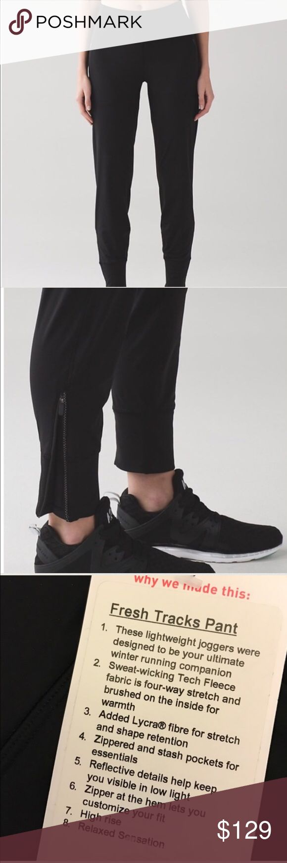 Lululemon Fresh Track Pants NWT/10 BLACK Lululemon Fresh Track Pants NWT/10 BLACK. ✅ALWAYS OPEN TO OFFERS-unless marked firm on price ✅OFFERS SHOULD BE MADE THROUGH POSH OFFER FEATURE ✅PRICES NOT DISCUSSED IN COMMENTS  ✅FEEL FREE TO ASK ANY QUESTIONS  ❎NO TRADES lululemon athletica Pants