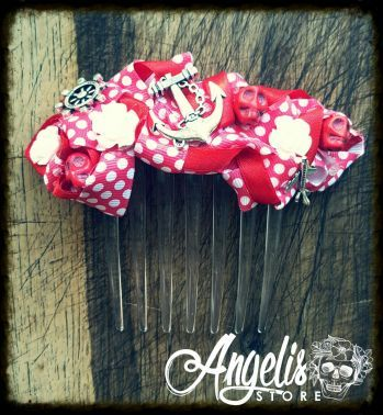 Red Polka Rockabilly Hair Comb