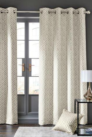 Opulent Geo Jacquard Eyelet Curtains