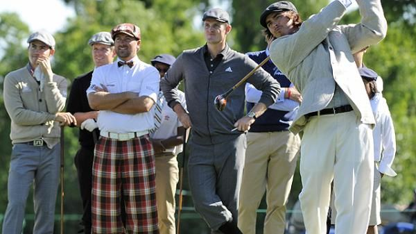 Rickie Fowler swings as Camilo Villegas (left) Graeme McDowell (plaid pants) and Justin Rose (gray outfit) look on. (photo from FairwayStyles.com)