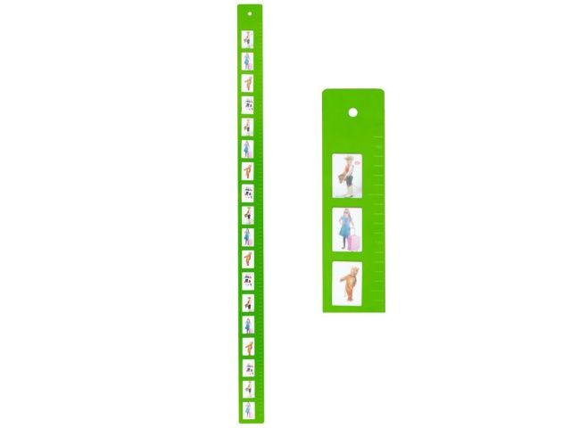 Miarka wzrostu dla dzieci z miejscem na 18 zdjęć o wymiarach 4,5 x 3 cm.