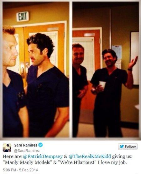 """Owen Hunt (Kevin McKidd) & Patrick Dempsey (Derek """"McDreamy"""" Shepherd). Grey's Anatomy. From Sara Ramirez's Twitter."""
