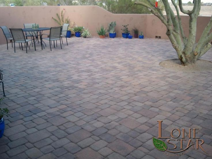 Pavestone 3 Tone Brown Standard Pavers In Courtyard In