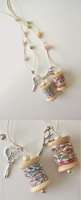Wooden Spool Necklace with fabric thread