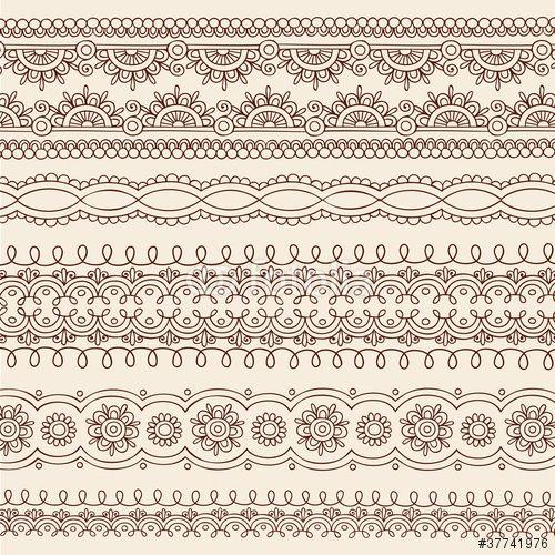 Vetor: Henna Mehndi Tattoo Paisley Vector Border Designs