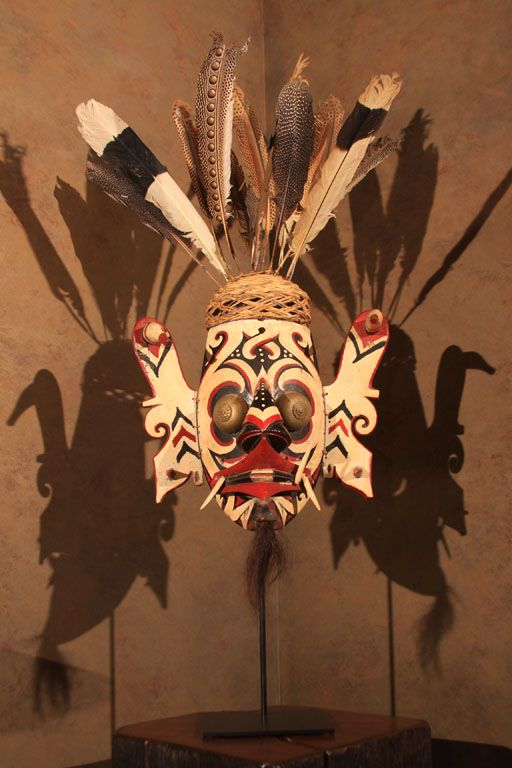 Ceremonial Mask from Borneo with Feathered Headdress
