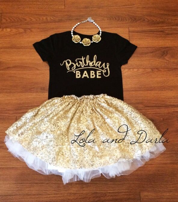 ((Need to find this tutu also)) Birthday Babe in Gold sparkle Toddler and Girls Sparkle T Shirt