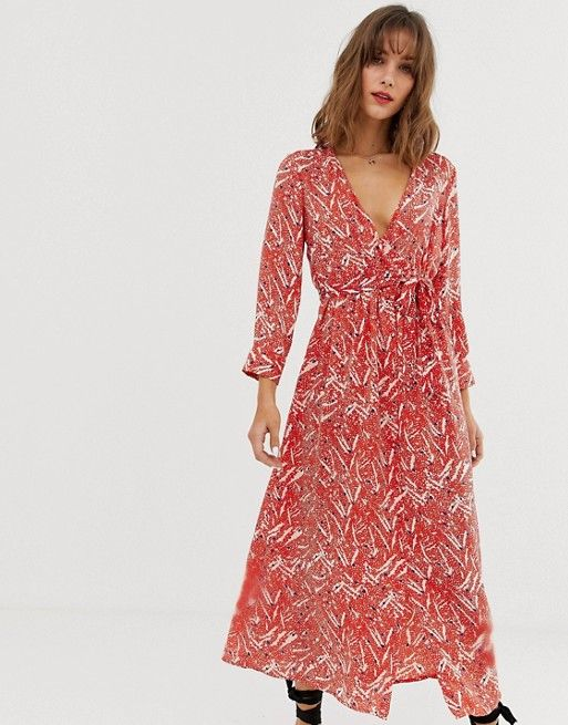 6a01562cb216b Vero Moda floral midi wrap dress in 2019 | Wish List | Dresses, Vero ...