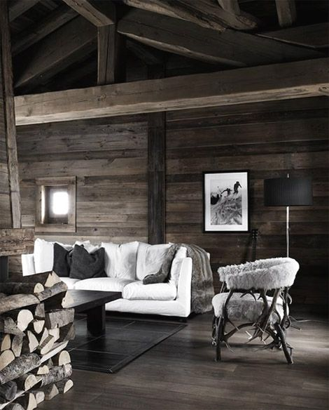 The black and white on that old looking wood... almost gives it a haunted feel... but it is so elegant