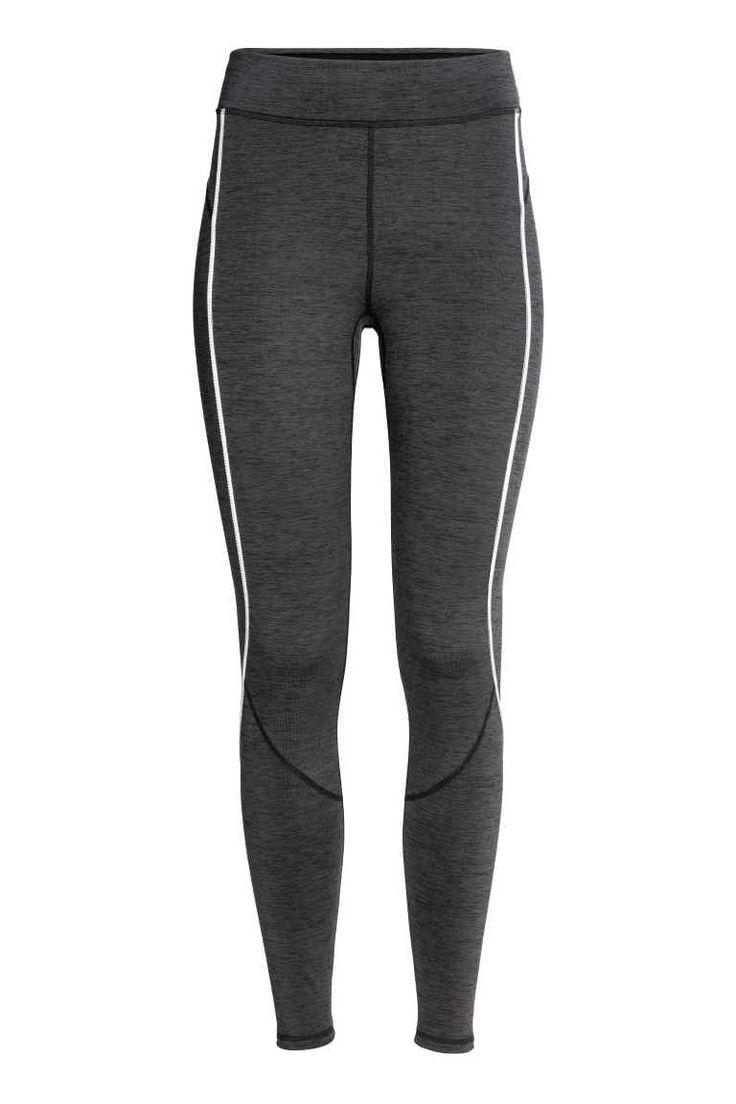 Leggings de corrida inverno - Cinzento escuro mesclado - SENHORA   H&M PT