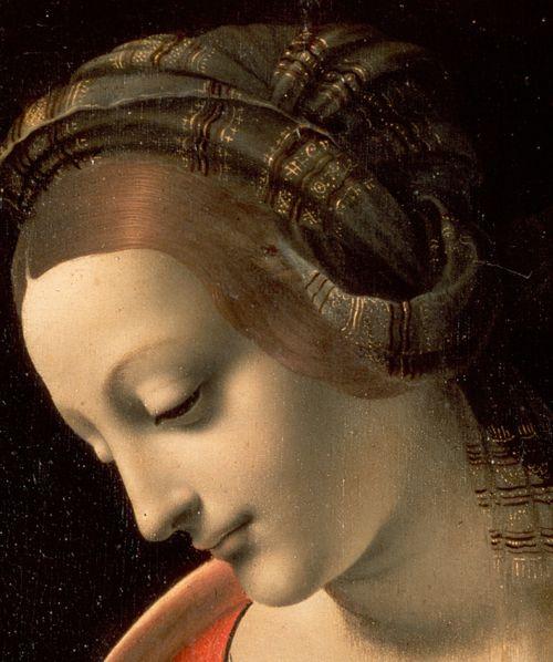 Madonna and Child (Madonna Litta) detail   Tempera on canvas (transferred from panel) 42 x 33cm Leonardo da Vinci