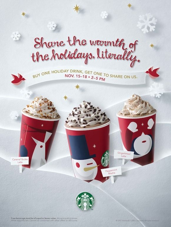 Starbucks Christmas 2012 printed ad campaign. by Sarah Jane Coleman, via Behance