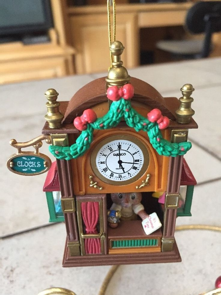 ENESCO CHRISTMAS ORNAMENT: IT'S TIME FOR CHRISTMAS! MOUSE in CLOCK SHOP new