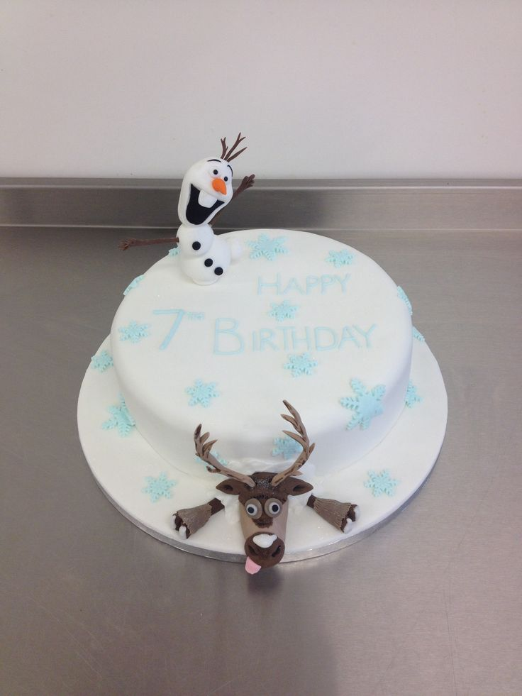 Disney's Frozen celebration cake with Olaf and Sven