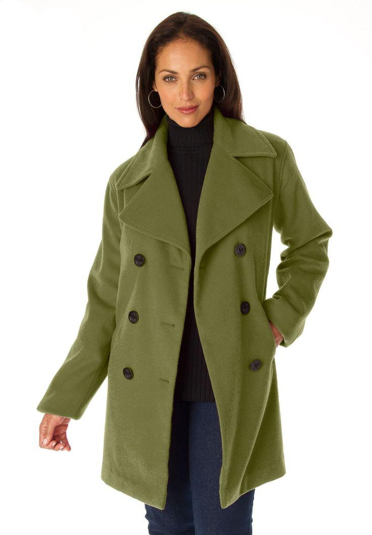Plus Size Jessica London® Wool-Blend Pea Coat