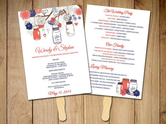 DIY Wedding Program Fan Template Rustic By PaintTheDayDesigns