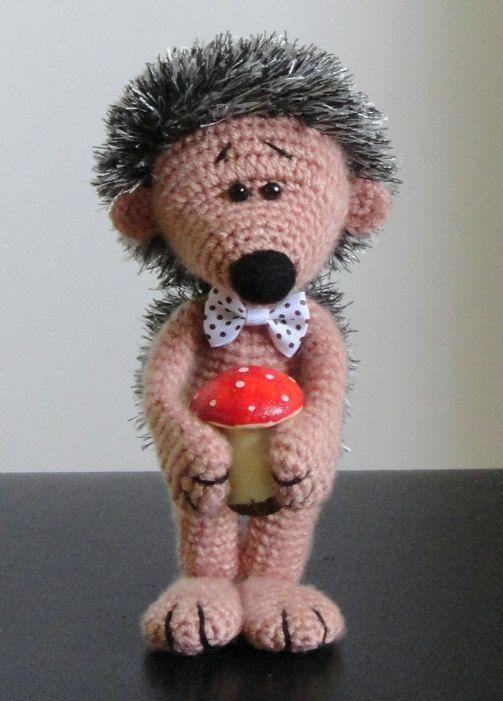Hedgehog and mushroom OOAK Stuffed Animals Crochet Soft toy decor Amigurumi Made to order