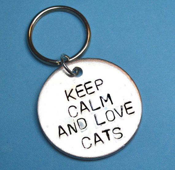 Cat lover gift Cat person Keep calm love by BeesHandStampedGifts