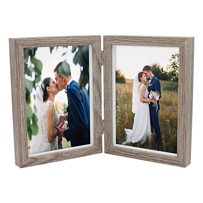 Afuly Double Picture Frame 5x7 Vertical Rustic Wooden Hinged Photo