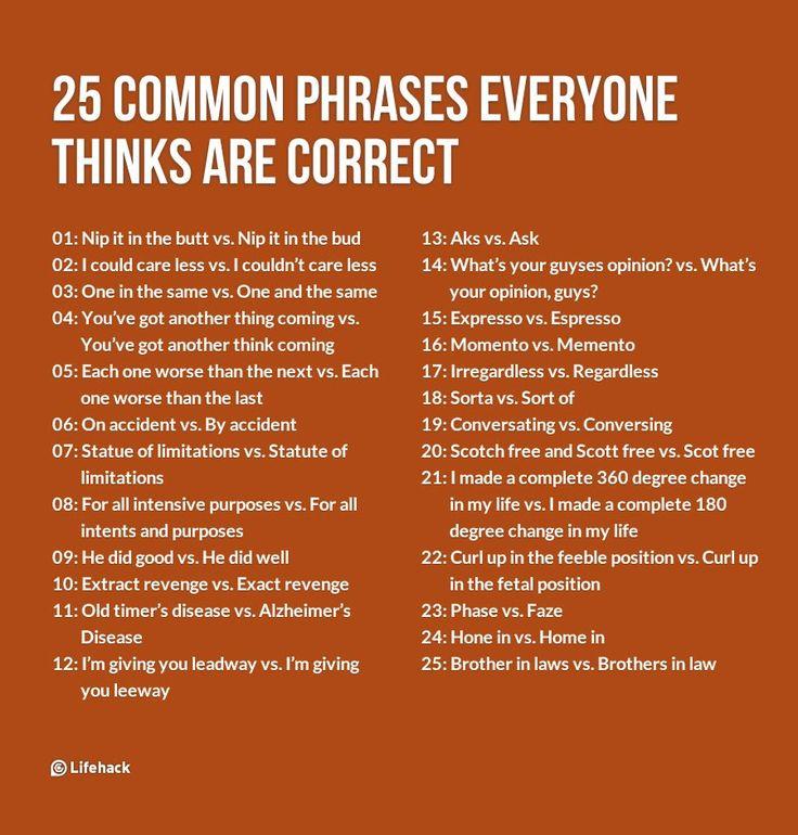 Words Language Grammar: Best 25+ Common Phrases Ideas On Pinterest
