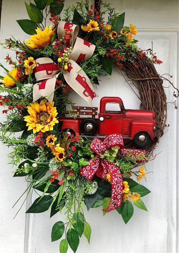 Red Truck Wreath Sunflower Red Truck Wreath Spring Wreath Summer