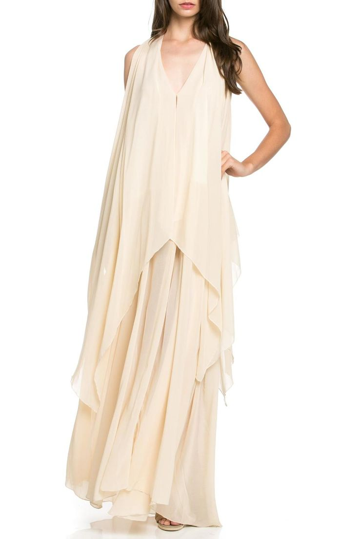 """This beautiful blush layered chiffon dress will make you feel glamorous with very little effort! Lots of billowy soft fabric. The long under layer is satin at the top, and sheer at the bottom. The top layer is chiffon with a v-neck and soft collar.This dress does not have a lining, but does have lots of fabric as not to be see-through. Some may want to wear a half slip with this dress.    Measures: 64"""" L on Size Small   Vanilla Dream Dress by MHGS. Clothing - Dresses - Maxi Tampa, Florida"""