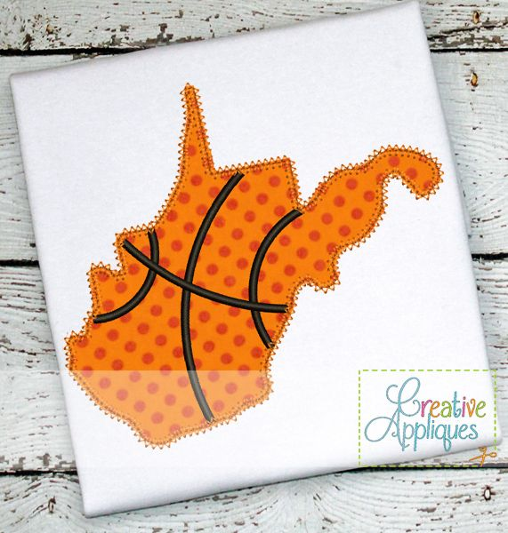 West Virginia Basketball Applique $ REPIN THIS then click here: https://creativeappliques.com/