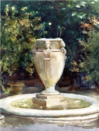 Vase Fountain, Pocantico - John Singer Sargent, 1917