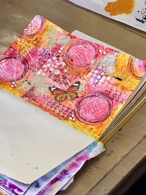 Circle patterns stamps by Dina Wakley Marks stamps by Natalie Kalbach Corncob stencil Kasia Avery for Crafters Workshop I call...