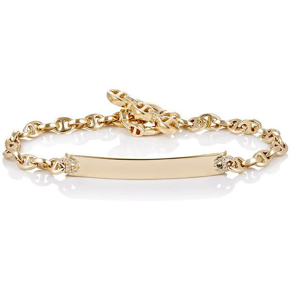 HOORSENBUHS Women's Monogram ID Bracelet ($6,500) ❤ liked on Polyvore featuring jewelry, bracelets, accessories, colorless, 18 karat gold jewelry, polish jewelry, 18k bangle, 18k jewelry and monogram bangle