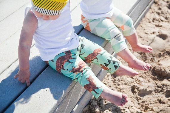 Salt City Emporium triangle fox print children leggings, modern organic, baby leggings, hipster kid, boy clothing, gender neutral