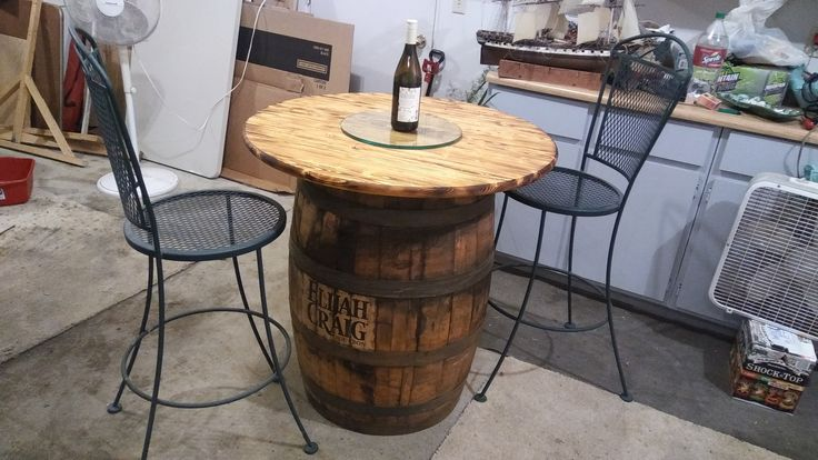 "WHISKEY BARREL PUB TABLE....FOR SALE!!!.....650. or best offer  FULL SIZE BARREL...Barrel is an ORIGINAL ""ELIJAH CRAIG"" KENTUCKY STRAIGHT BOURBON WHISKEY BARREL.  36"" TABLE TOP.... 14"" thick round glass insert for the table top.   This project is 85% complete....All you have to do is finish it....I DON'T HAVE THE TIME TO FINISH THIS PROJECT....Call me today 612-567-7449 I am in Minneapolis MN. Please leave a message if I miss your call. Thanks"