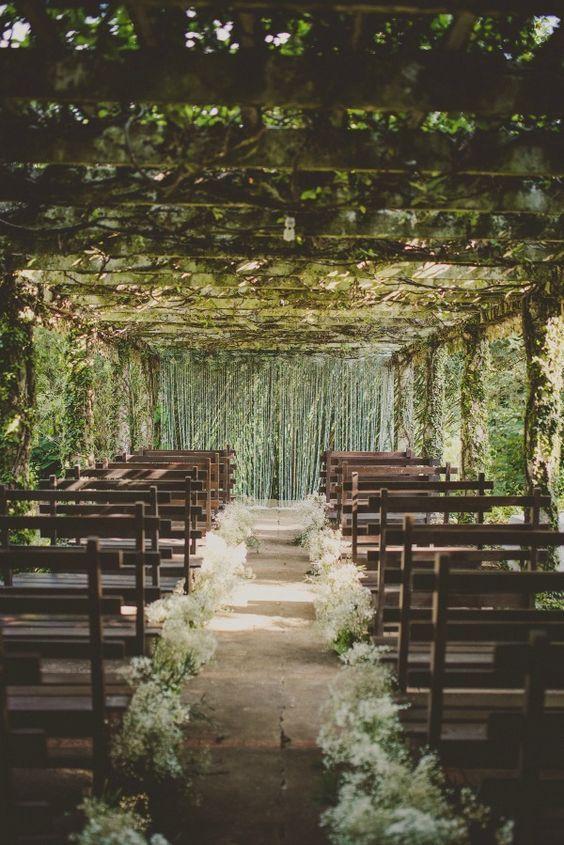 rustic outdoor wedding aisle