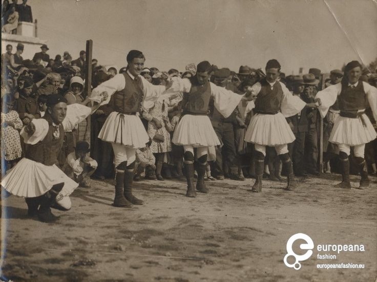 "1930 Megara, Greece | Photo of men in fustanela costumes dancing. Inscription: ""Ηθογραφικά (ελληνικά)"". 
