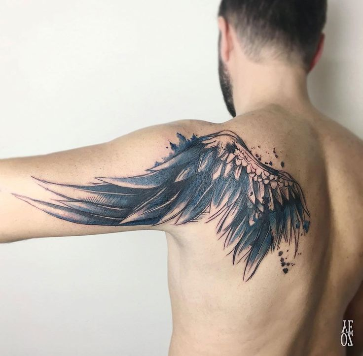 Watercolor Wing on Shoulder Blade & Arm