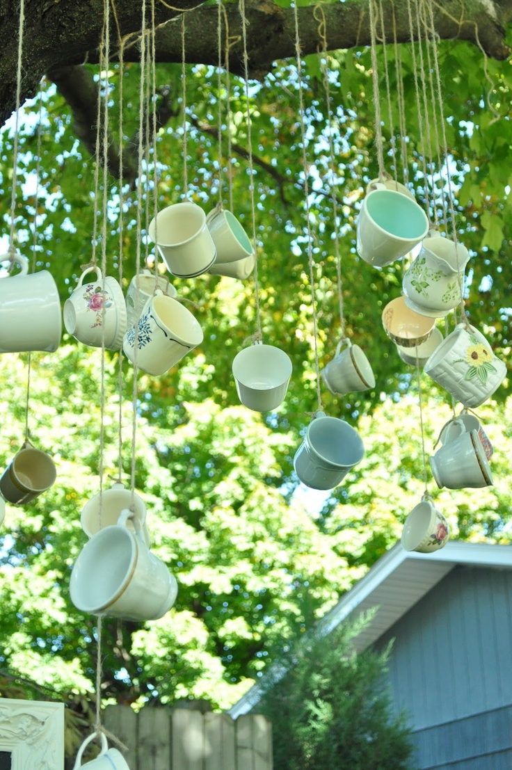 Outside Decor Hanging Teacups Alice in