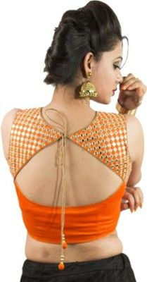 Intrigue Orange Fashion Neck Sleeveless Blouse #sareeBlouse #Orange