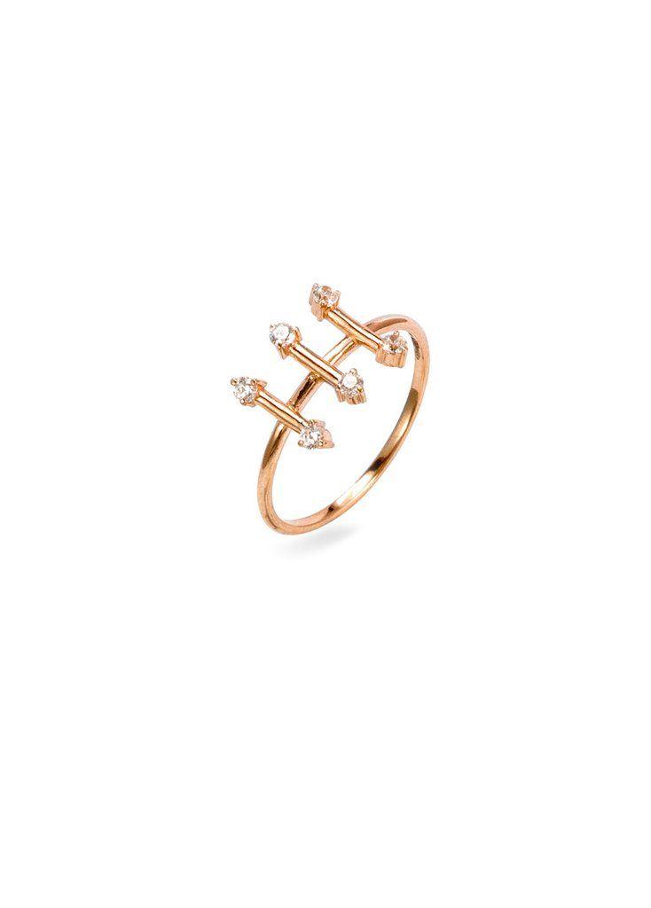 Parallèle Blush Ring  18 Karat Rose Gold With Sapphires
