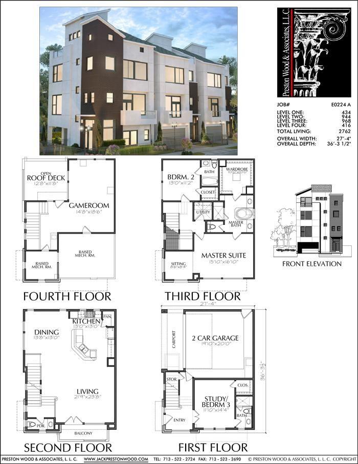 3 1 2 Story Townhouse Plan E0224 A Townhouse Architecture Plan House Blueprints