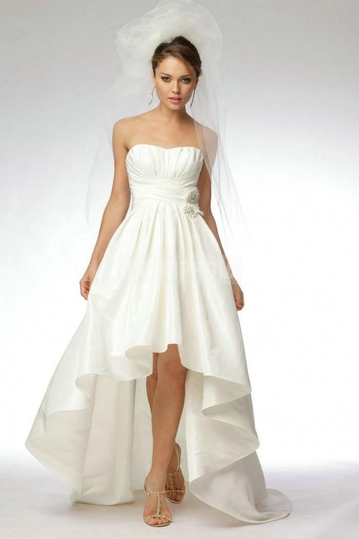 High Low Taffeta A-line Ruching Beading Simple Wedding Dress