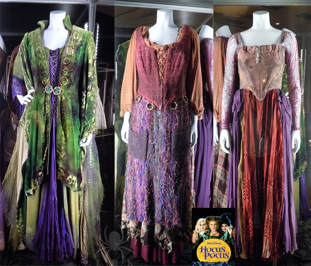 The costumes worn by the Sanderson witches in the film Hocus Pocus