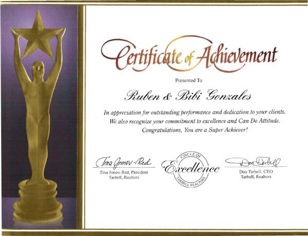certificate of achievement in appreciation for