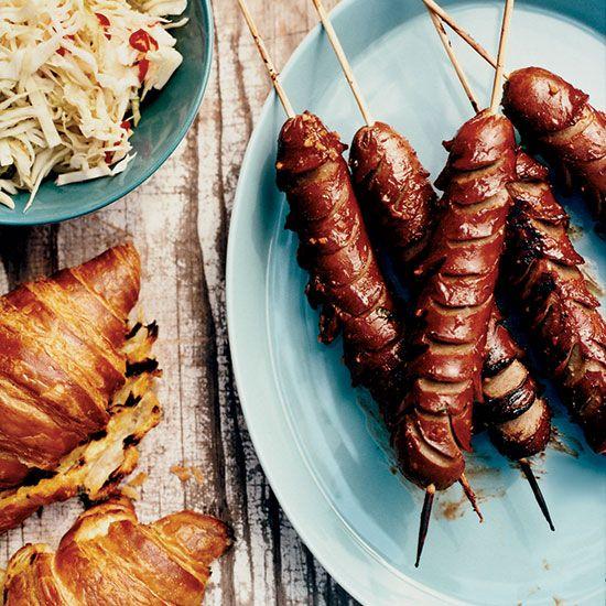 Crosshatch Hot Dogs on Grilled Croissants // More Tasty Hot Dog Recipes: www.foodandwine.com/slideshows/hot-dogs #foodandwine