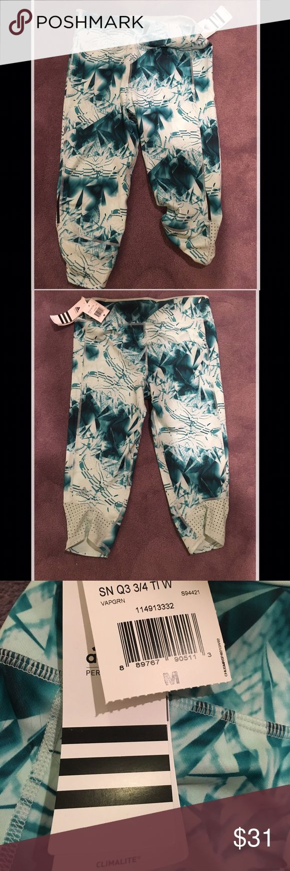 Adidas Supernova Capri workout pants teal print New with tags! Drawstring internal at waist, just below knee length, size Medium. Super soft. Last pic shows a different color, but the fit is the same. Adidas Pants Leggings