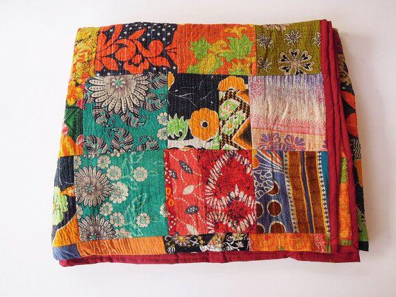 Fernando vintage Patchwork trapunta coperta Throw Queen biancheria da letto realizzata con cotone Vintage Saree