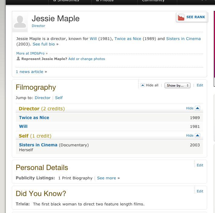 Jessie Maple IMDB page