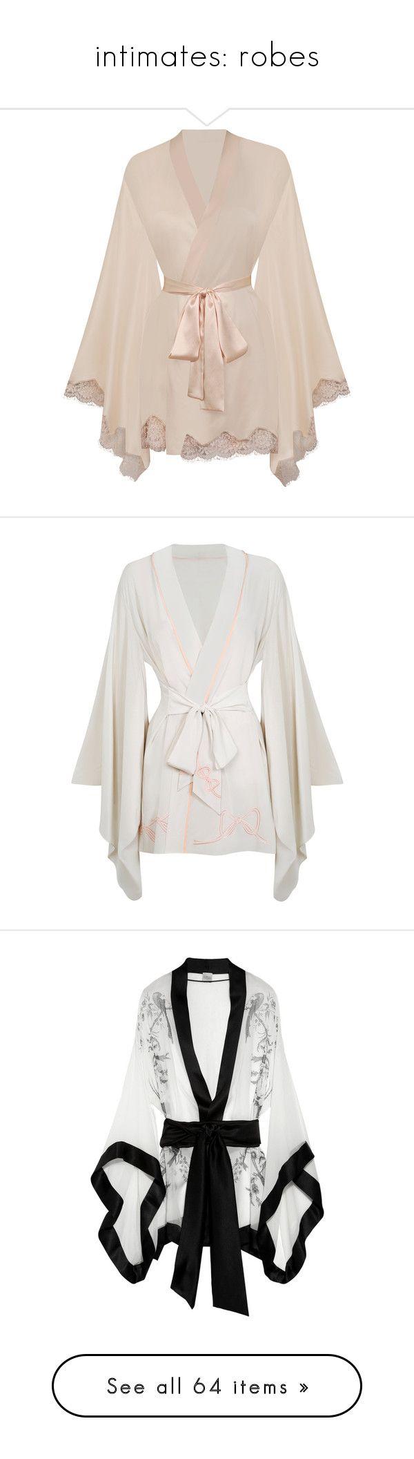"""intimates: robes"" by fallen-midnight ❤ liked on Polyvore featuring intimates, robes, lingerie, pajamas, sleepwear, kimono, nightwear, cream, gowns & kimonos and kimono robe"