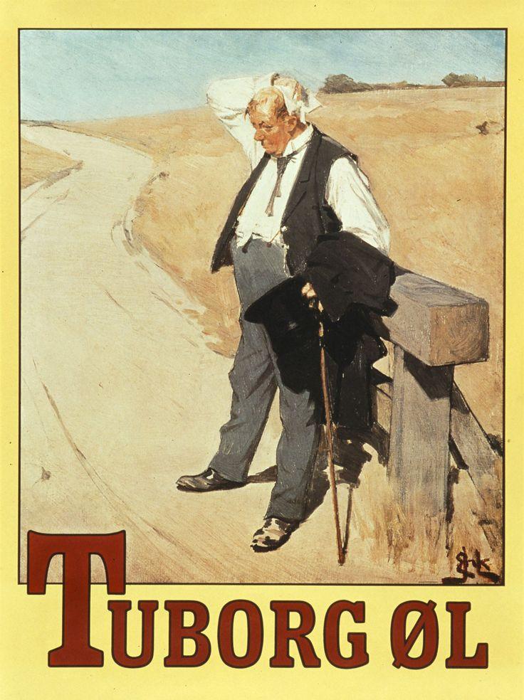 """""""Den tørstige mand"""". Tuborg poster from 1900 by Erik Henningsen"""