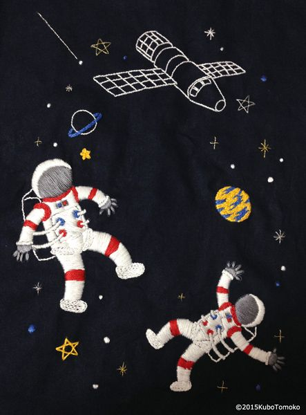 #KuboTomoko #Crafts #刺しゅう #刺繍 #embroidery #handmade #ハンドメイド #illustration #イラストレーション #astronaut #宇宙飛行士 #stars #星